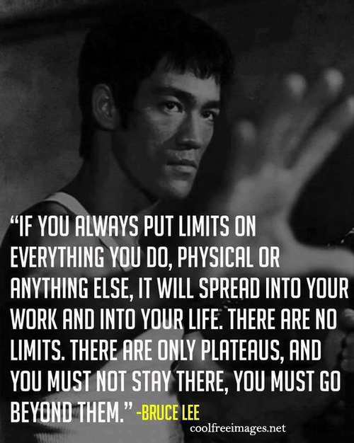 If you always put limits on everything you do,  physical or anything else, it will spread into your work and into your life. Bruce Lee - Best Online Inspirational Sports Quotes Pictures